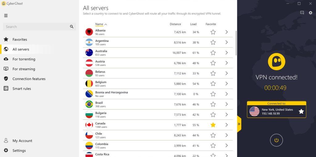 CyberGhost servere